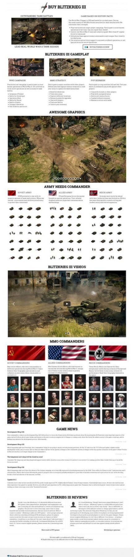Blitzkrieg 3. Landing page